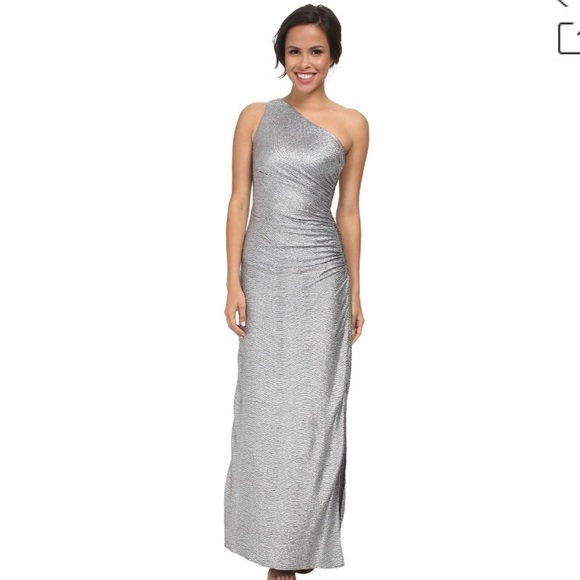 35c55b948b3 Laundry by Shelli Segal One Shoulder Silver Gown